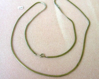 Vintage Silver Tone Flat Chain Necklace - 30 Inches - No. 1674