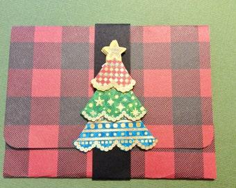 Christmas Gift Card/Money Card, Handmade, Red, Black, Checked, Glitter, Christmas Tree, Black