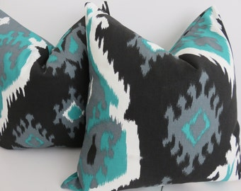 Aqua Black Pillow Cover- Pillow Cover - 18x18 Pillow cover- Aqua Pillow Cover -  Black Pillow Cover - Ikat Pillow Cover, Turquoise pillow