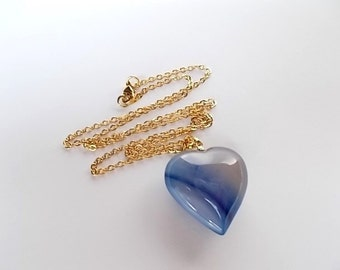 Indigo Necklace, Puffy Heart Pendant, Gold Bohemian Jewelry, Gift for Her, Natural Agate Necklace