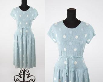 1940s Dress // Knit Blue and White Polka Dot Sweater Dress
