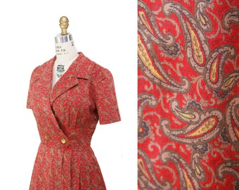 1950s Dress // Red Paisley Cotton Wrap Bust Puff Sleeve Dress