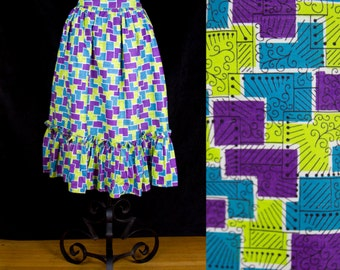 1940s Skirt // Colorful Ruffle Hem Skirt