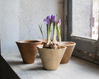 Vintage French Planter or Plant Holder // Terracotta Pottery Sap Buckets // Indoor Garden