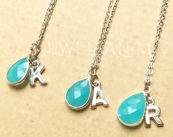 Silver Personalised Necklace, Initial Necklace, Turquoise Necklace, Name Necklace, Bridesmaid Gift, Necklace Set, Layered Necklace