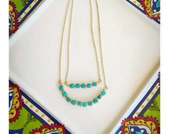 Double Strand Brass and Turquoise Statement Necklace