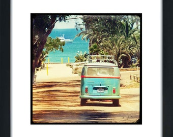 VW Bus Retro Surfer Art Framed Photography Gift Idea, 12x12 Framed, Retro Art Framed Home Decor, Boys Room