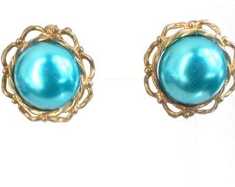 Earrings clip on vintage green/blue teal dome fancy goldtone bezel