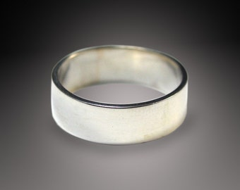 Men's Silver Wedding Ring-- Wide Band--6mm wide Flat Edge Solid Sterling Silver Band Custom made in YOUR size