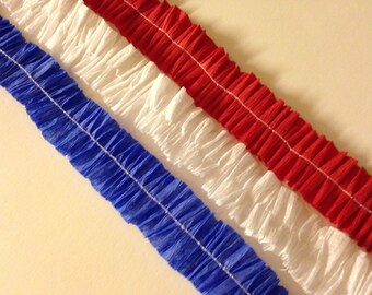 Red White Blue Crepe Paper Ruffles Set of 3 Party Supply Handmade Vintage Ruffled Paper Trim Paper Garland