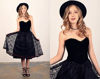 Vintage 80s Lace Dress Strapless Black Velvet Party Dress