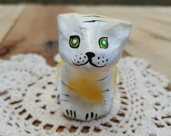 Paper mache cat from Haiti. Collectable tiger cat figurine