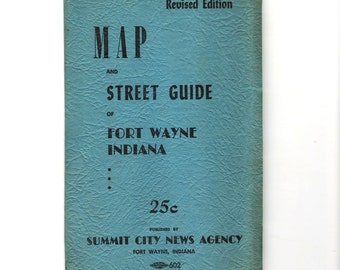 Fort Wayne Indiana Map and Street Number Guide,  fold out map