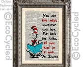 SALE Cat in the Hat 10 Book Magic on Vintage Upcycled Dictionary Art Print  Book Art Print Dr Seuss Children Reading Adventure book lover ar