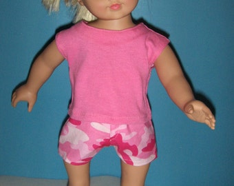 Camouflage Pink Shorts with Matching  Pink Top  fits American Girl , and other 18 inch dolls