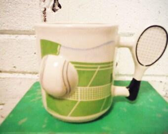 Tennis pro coffee mug vintage retro resort athletic office pencil cup novelty green  white black net ball