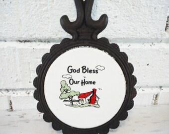 Vintage house blessing trivet wrought iron tile god bless our home black white red religious decor kitchen wall