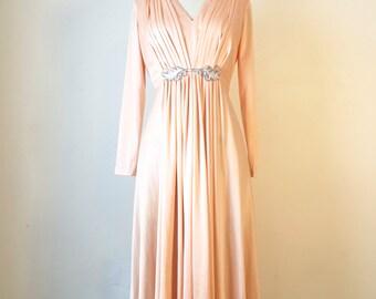 Vintage 1970s Elegant Peach Embellished Gown Dress