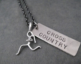 Cross Country Necklace with Sterling Silver Runner Girl Charm - Dog Tag Style XC Pendant with Sterling Running Girl Charm on Gunmetal Chain