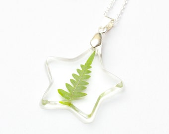 Star Natural Forest Leaf necklace - leaf pendant, natural necklace, fern necklace, forest jewelry, natural jewellery, nature, green, starry
