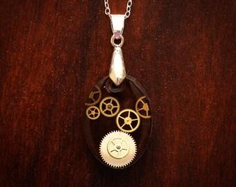 Steampunk oval necklace - steampunk fashion, gears, gear heart, steampunk pendant, gears pendant, steamfashion, gear necklace
