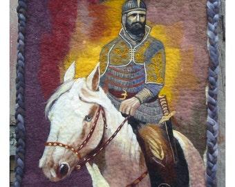 Tapestry, Felt Tapestry,Felt Image of Khan Ispor,Felt Wall PictureFirst of the kind,Felt tapestry of Akhalteke Horse, Hystory Images