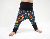 SAVE 15% - Organic baby harem leggings blue bird flower baggy pants comfy kids trousers stretch jersey knit toddler jersey children unisex
