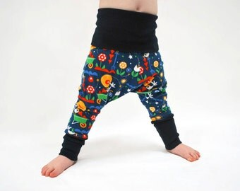 SAVE 15% - Organic baby harem leggings blue bird flower baggy pants comfy kids trousers stretch jersey knit toddler jersey children unisex