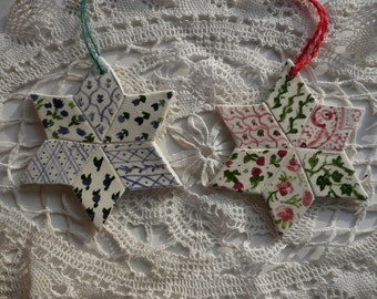 Ceramic Ornaments - Quilt Stars