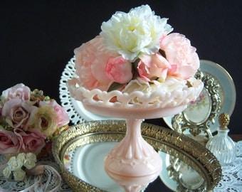 Fenton Pink Pastel Lace Edge Compote - Pink Milk Glass Compote - Milk Glass Compote - Wedding Milk Glass - Vintage Wedding - Pink Milk Glass