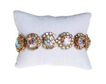 Aurora Borealis Rhinestone Bracelet, Sparkling, Mid Century Modern, Set in Gold Tone