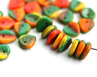 Heart shaped leaf beads, Bright mix Green Yellow Orange, Czech glass leaves, petals - 9mm - 30Pc - 0114