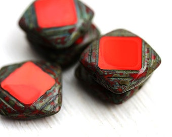 Square Czech glass beads, Red beads, picasso finish, table cut, squares - 15mm - 4Pc - 2543