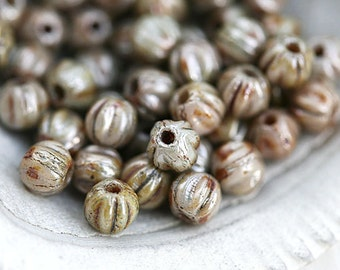 3mm Melon beads, Luster Grey Green, picasso spacers, czech glass, tiny round beads - 50pc - 2694