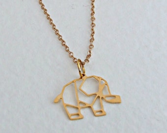 Elephant Necklace .. gold necklace, animal necklace, origami, geometric, outline
