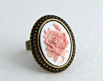 Pink Cameo Ring .. rose ring, pink ring, small ring, flower ring, flower jewellery