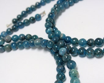 "Blue Apatite Round Beads, 4mm Teal Blue Apatite Gemstone Beads, 15"" Strand - 98 pcs"