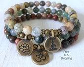 Yoga stack, Yoga bracelets, Moss agate, picasso Jasper,  bracelet set, Reiki Charged, stacking malas, yoga stack, stacking