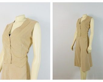 Vintage Culottes & Vest Set 70s Gauchos and Vest Beige Corduroy Outfit Modern Size Small to Medium
