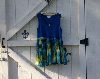 Boho tunic sleeveless tunic M, blue teal hippie tunic Sundress upcycled eco fashion