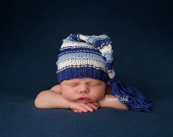 Newborn Hat, Stocking Hat, Navy, Light Blue, White, Photo Prop