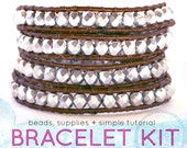 DIY KIT leather wrap bracelet kit: silver beads, brown leather, supplies & tutorial