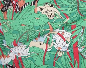 "2278  - 1 yard Thick Stretch Twill Cotton fabric - Zebra,tiger,bird,flower,leaf (140cmx91.44cm,55""x36"")"