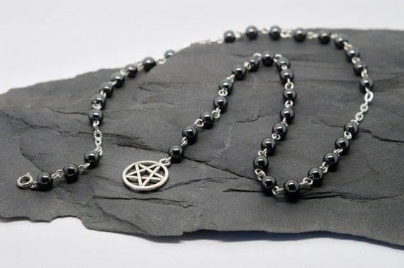 Pagan prayer beads pentacle necklace hematite gemstones