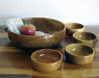 Vintage Wooden Salad Bowls - Five Piece Set - Hand Turned Wood