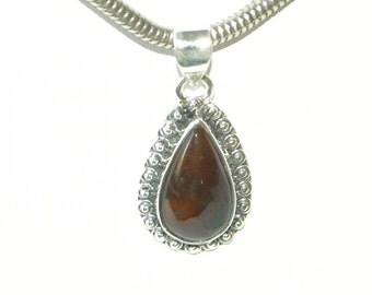 "Bloodstone Pendant Red Handmade Natural Semiprecious Bloodstone Gemstone Sterling Silver 1 1/2"" Pendant Take 20% Off Bloodstone Jewelry"