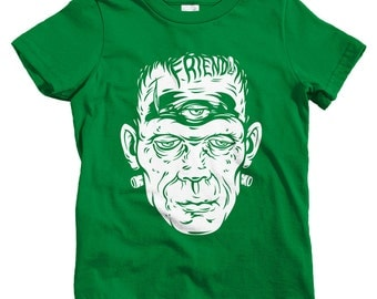 Kids Friend Frank T-shirt - Baby, Toddler, and Youth Sizes - Frankenstein Tee, Monster, Horror, Halloween - 2 Colors