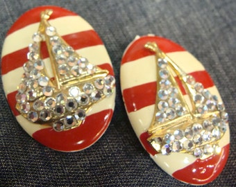 vintage NAUTICAL STRIPED SAILBOAT giant clip earrings