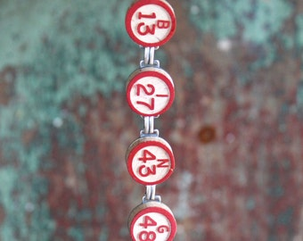 Bingo Bracelet , Vintage wooden calling numbers