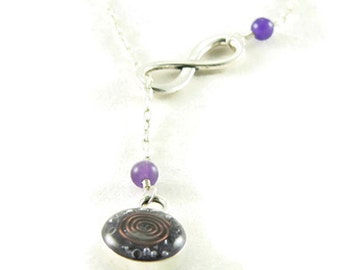 Orgone Energy Infinity Lariat Necklace in Antique Silver Finish with Amethyst Gemstone - Orgone Energy Necklace - Dainty Necklace